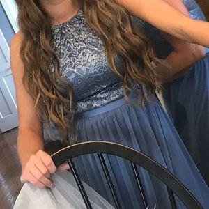 Blue halter tie neck dress